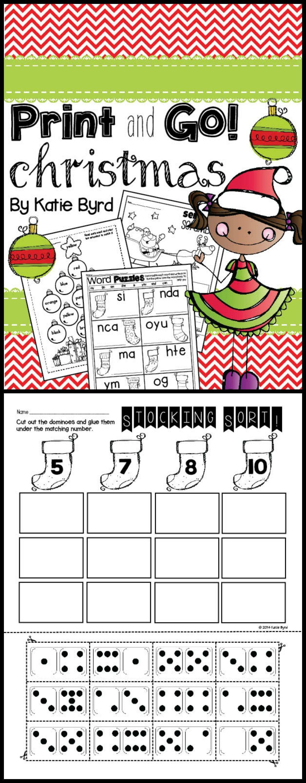 Print And Go Christmas Math And Literacy No Prep