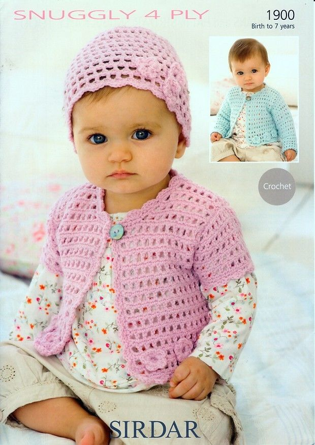 Crochet Cardigans and Hat in Sirdar Snuggly 4 Ply - 1900 | Suéteres ...