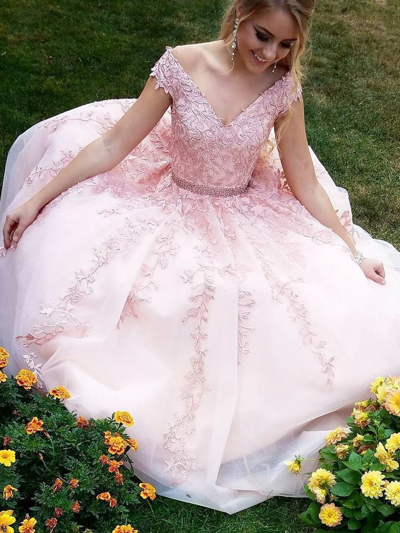 Black and blush wedding dress  Princess V Neck Pink Lace Appliques Long Prom Dress Evening Gowns
