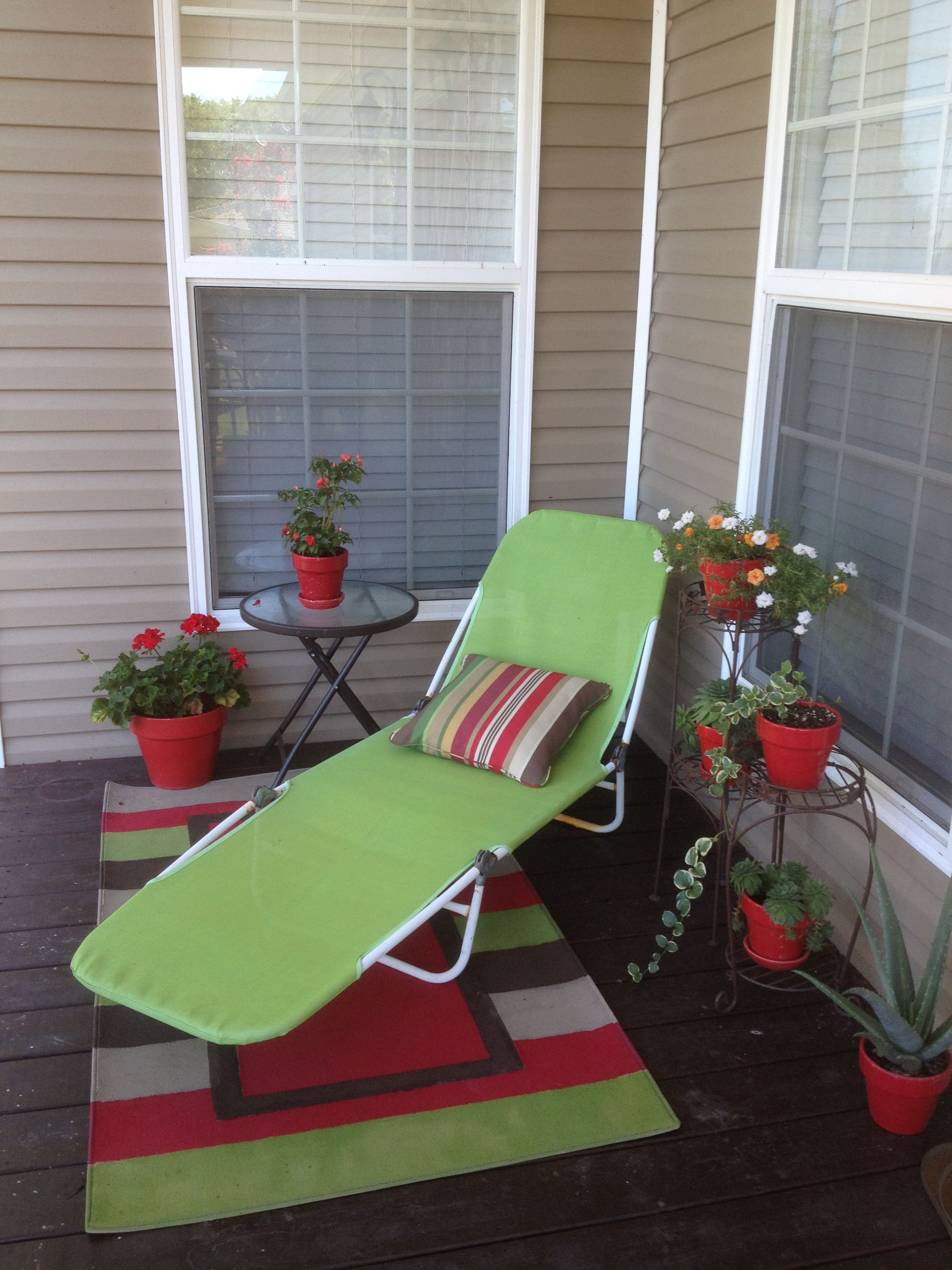 Comfy back porch nook   Porch nook, Small apartment living ... on Apartment Back Porch Ideas id=77472