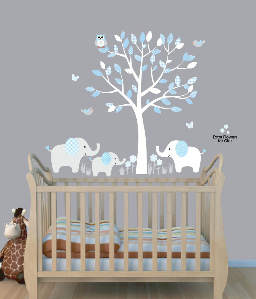 Best Details About Elephant Tree Nursery Sticker Decal Boys Room Wall Decor Elephant Wall Art 640 x 480