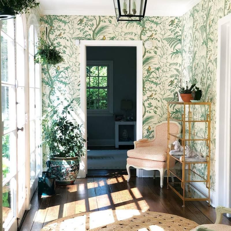 Bird And Thistle A Timeless Classic By Brunschwig Fils The Glam Pad Bird And Thistle Green Wallpaper Wall Coverings Bird and thistle wallpaper green