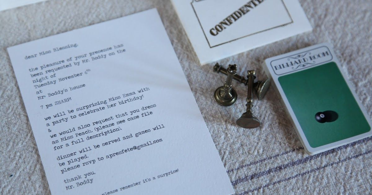 A Clue Mystery Party invitations! So fun. Party post to