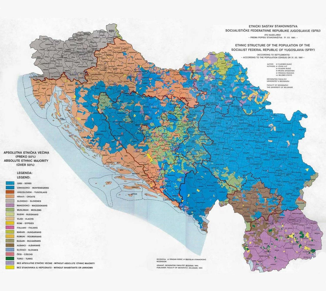 Ethnic Composition of the former Yugoslavia in 1981 Maps