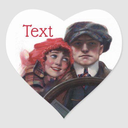 Classic car vintage romantic winter illustration heart sticker   Zazzle.com