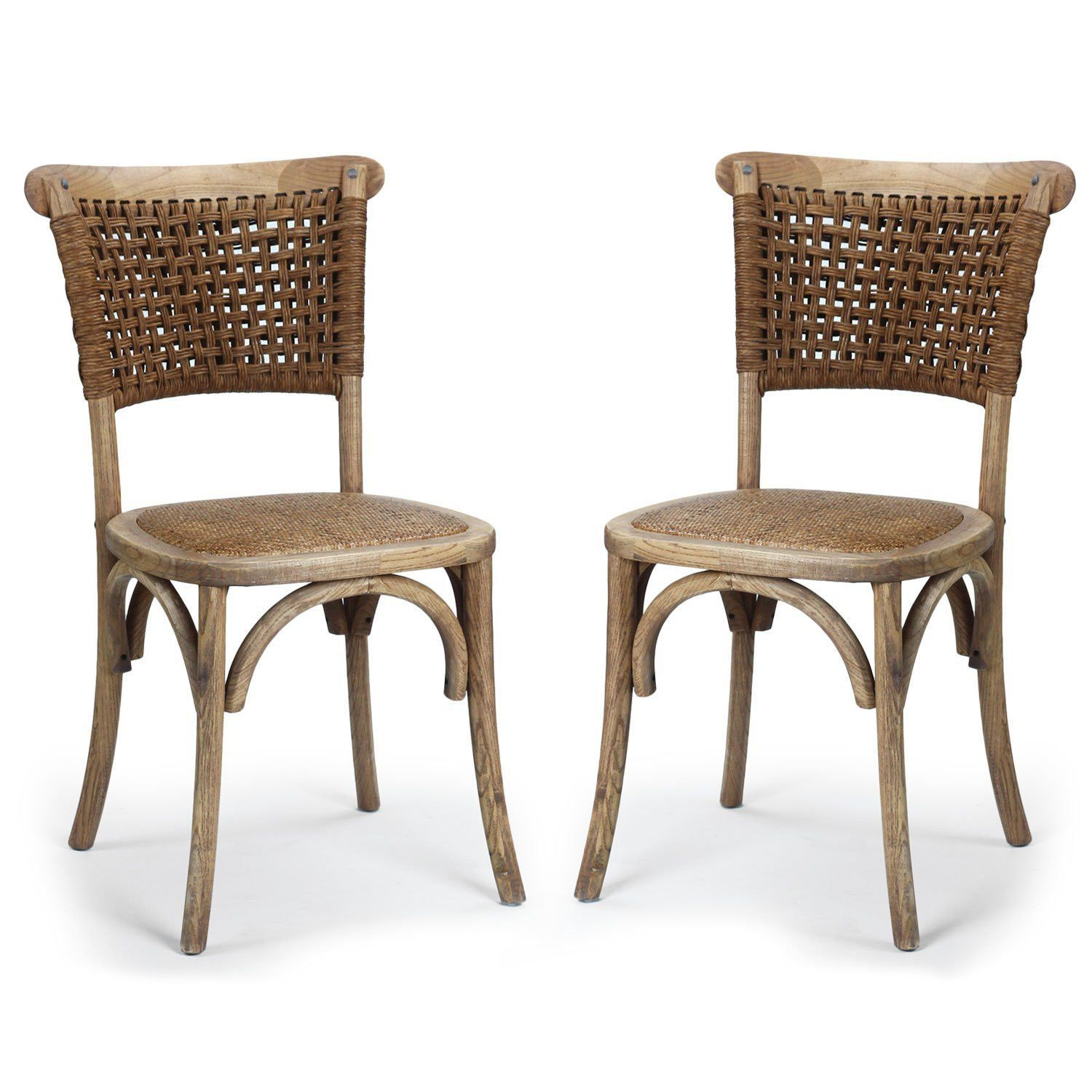 Elm Wood Vintage Style Dining Chair With Rattan Cane Seat And Woven Paper Rope Back