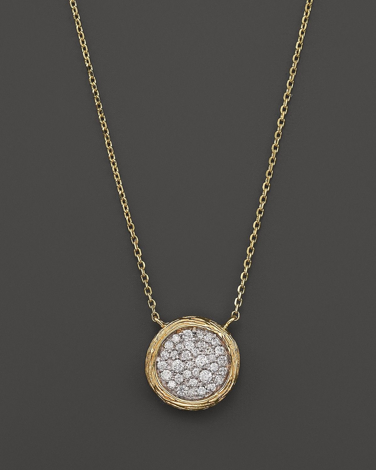 9ef1b569a96 Pavé Diamond Circle Pendant Necklace in 14K Yellow Gold, .35 ct ...