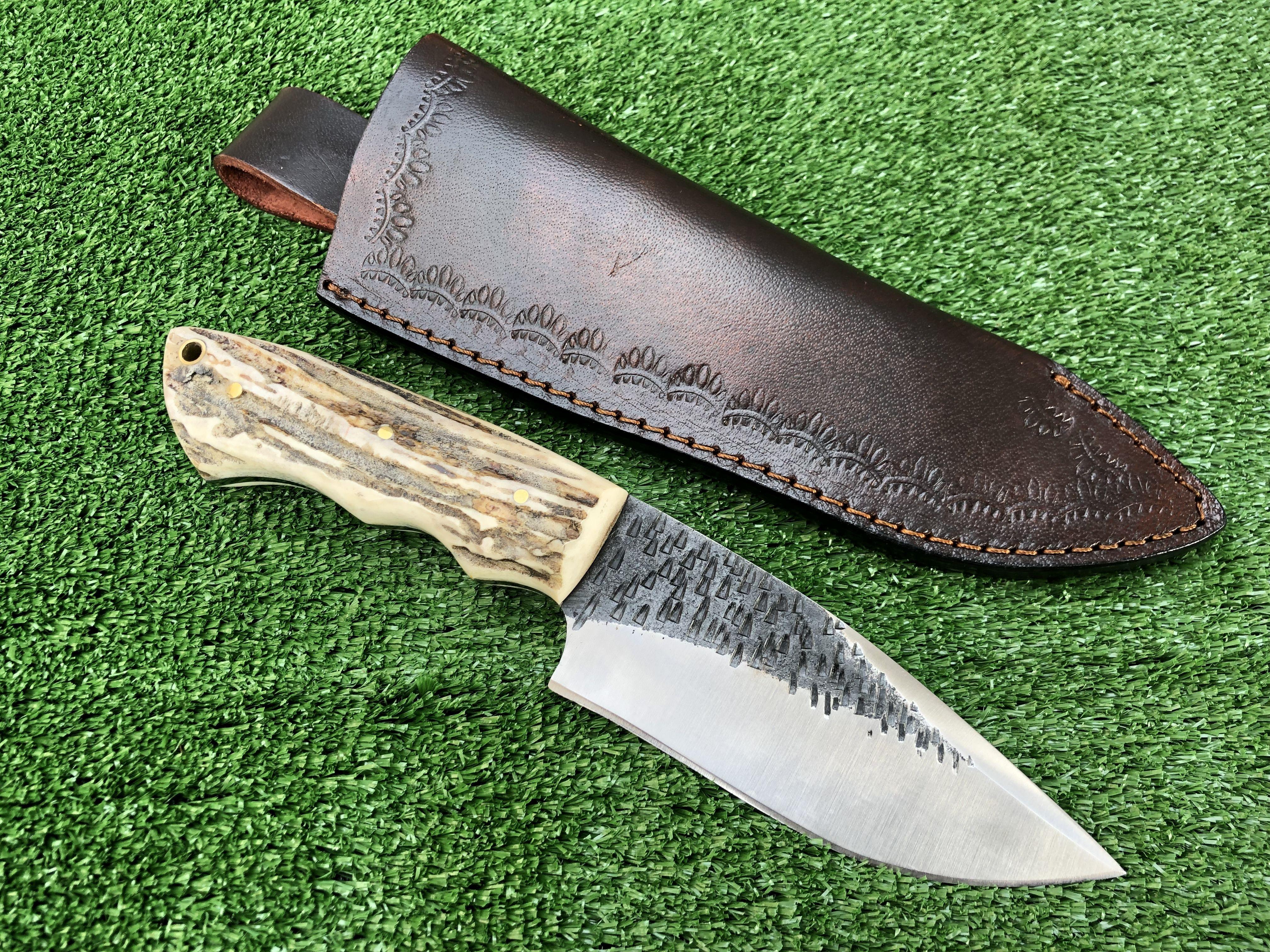 Handmade 1095 Steel Skinner Knife With Deer Antler Handle In 2020 Knife 1095 Steel Antlers