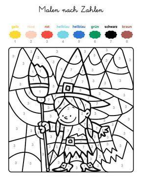 ausmalbild malen nach zahlen: hexe ausmalen kostenlos ausdrucken | malen nach zahlen kinder