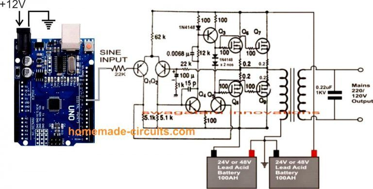Make This 1kva 1000 Watts Pure Sine Wave Inverter Circuit Homemade Circuit Projects In 2020 Circuit Projects Circuit Sine Wave