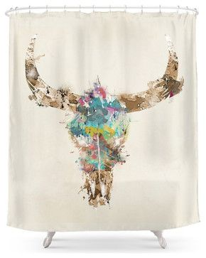 Society6 Cow Skull Shower Curtain Contemporary Shower Curtains