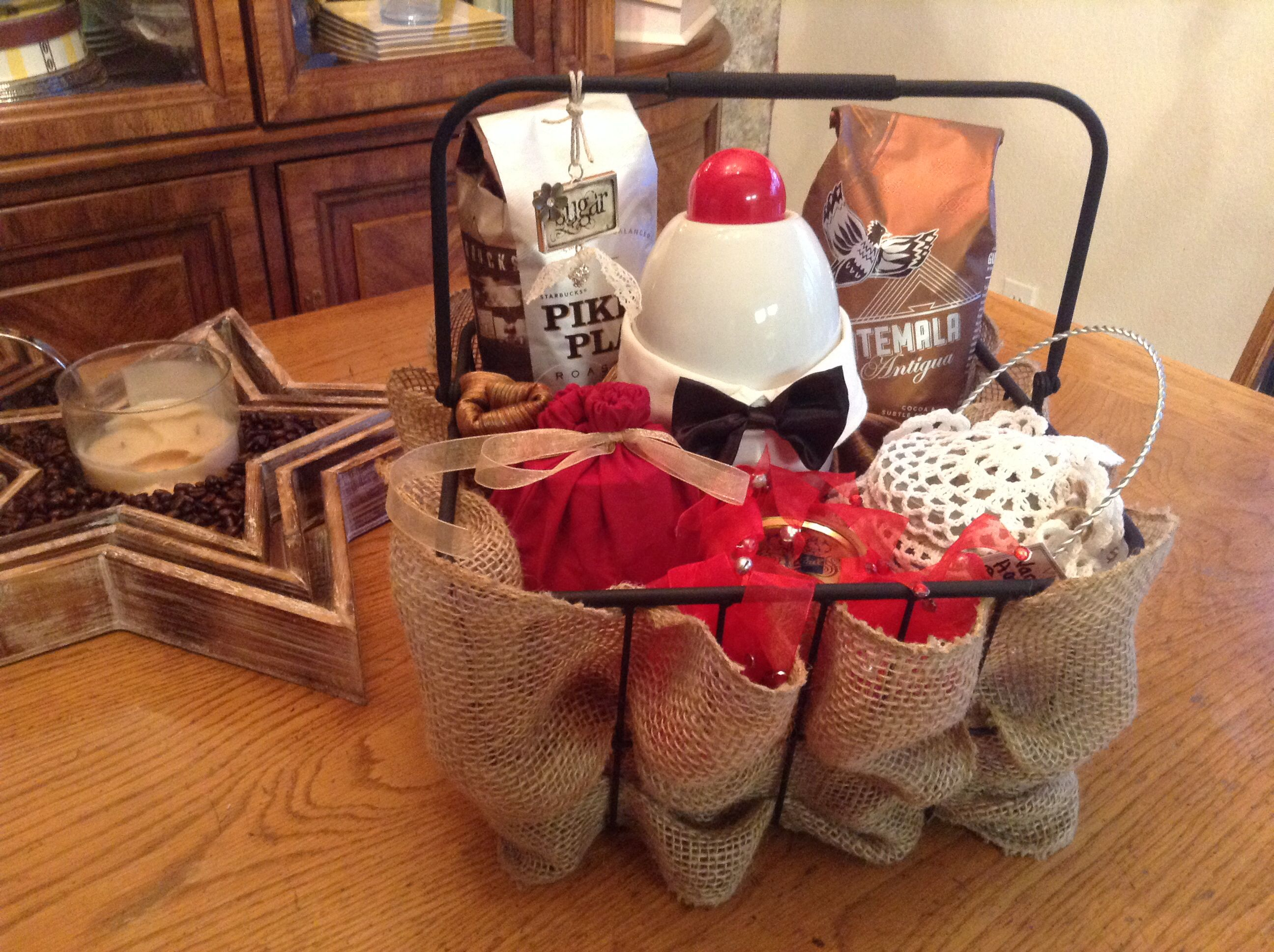 My Coffee Gift Basket - 3 mugs (behind the bow tie ...