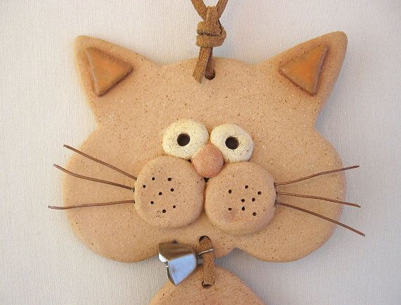 Ceramic Cat Hanging Mobile, fun handmade Wall Hanging, by SallysClay