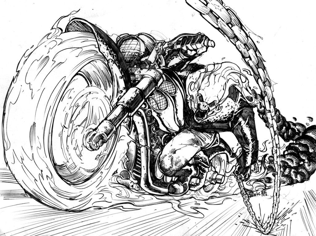 Line Art Vs Painting : Ghost rider by fpeniche marvel universe
