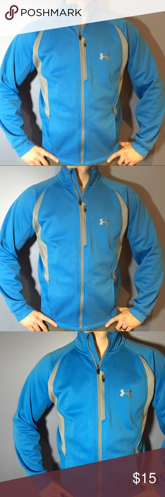 Menus under armour blue full zip fleece jacket mommy and me