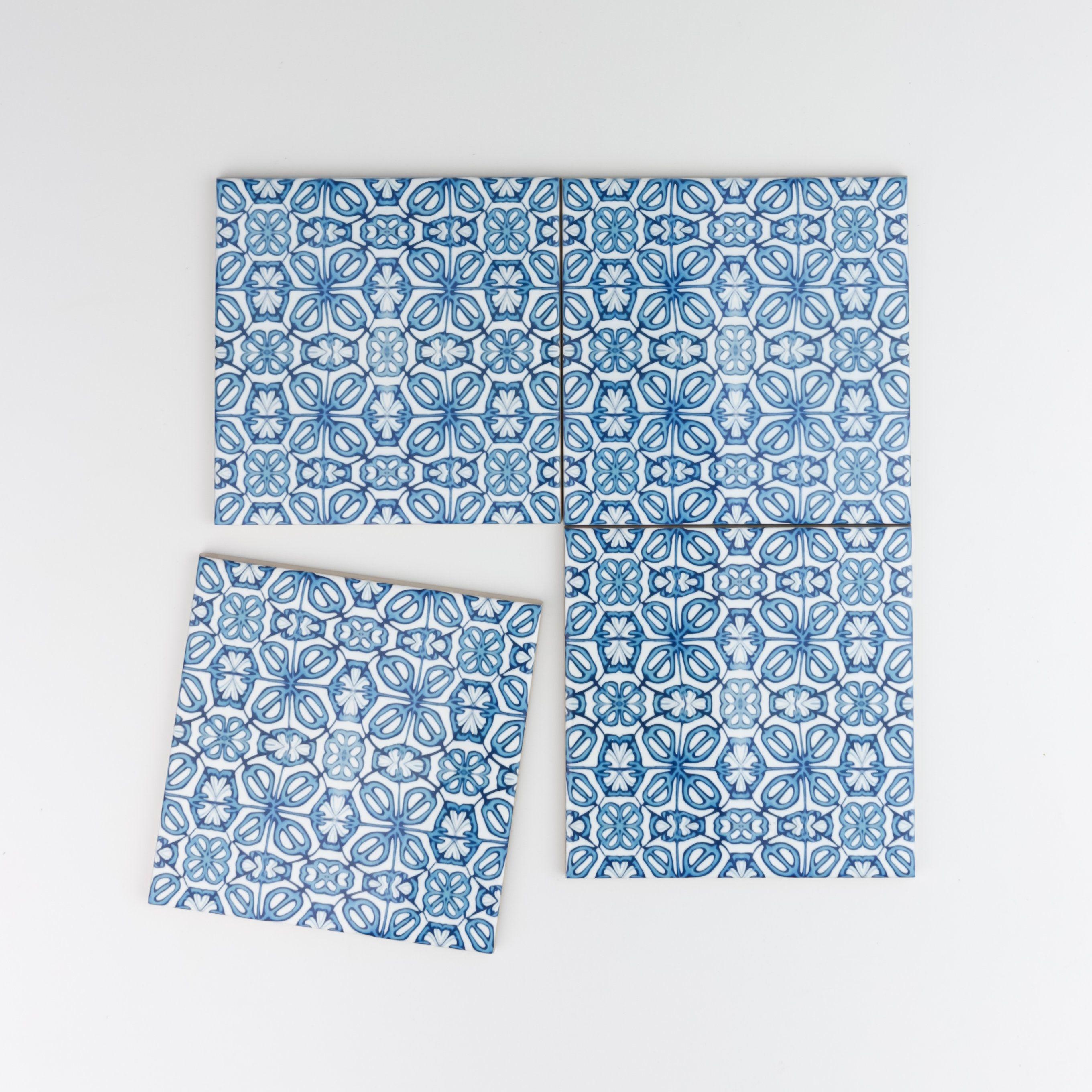 Blue flower tiles, turkish bath tiles, moorish kitchen tiles, bright ...