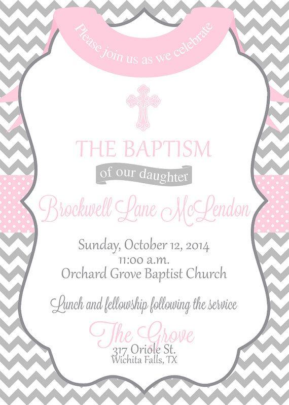 baby girl baptism christening dedication chevron cross invitation