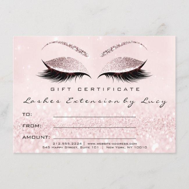 lashes glitter certificate zazzle makeup lash extension template