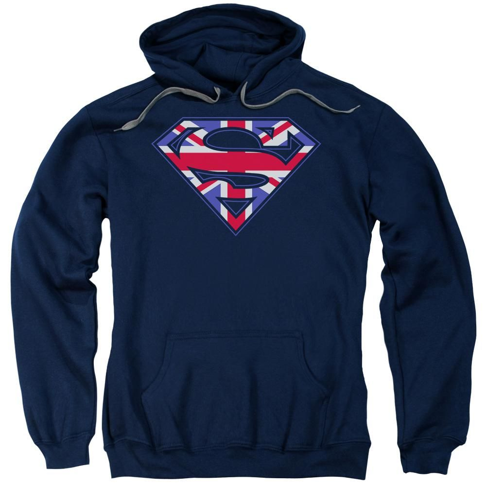 Superman - Great Britian Shield Adult Pull Over Hoodie ...