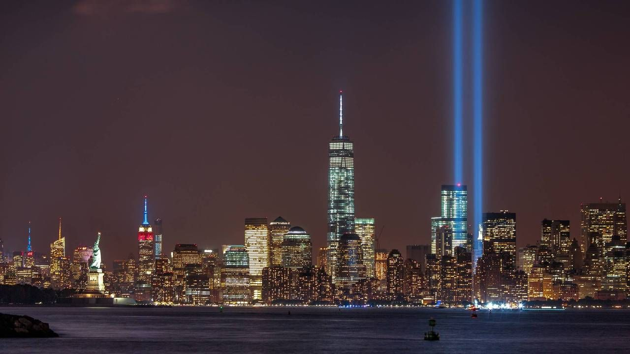 New York City Tribute in Light 2014 from Bayonne, NJ Source
