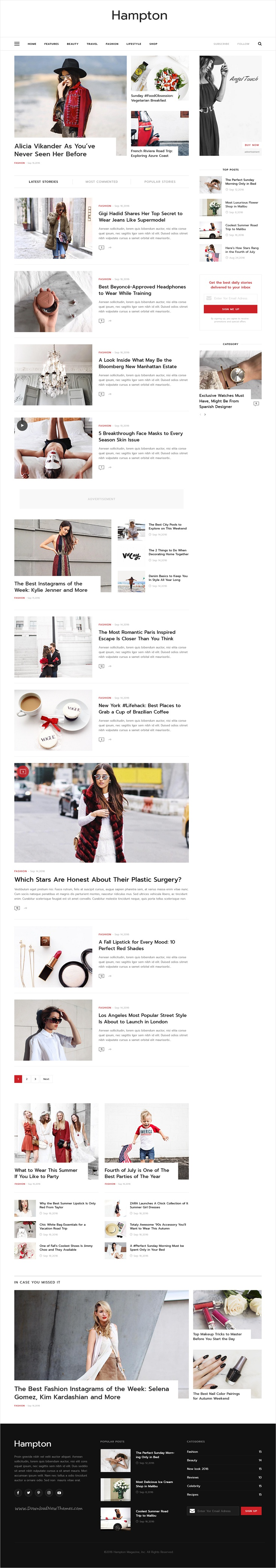 Hampton is a fashionable and elegant #PSD template for #magazine and #newspaper website download now➩ https://themeforest.net/item/hampton/17340371?ref=Datasata