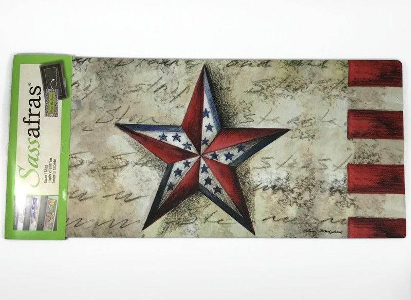Stars On Stars Sassafras Insert Switch Door Mat 10x22 Patriotic Red Blue 431117 Sassafras Americana Outdoor Door Mat Cozy Shag Rug Rug Runner Hallway