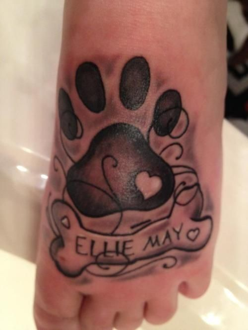 Love the paw print and name but not the shading inkology for Shading tattoo pain