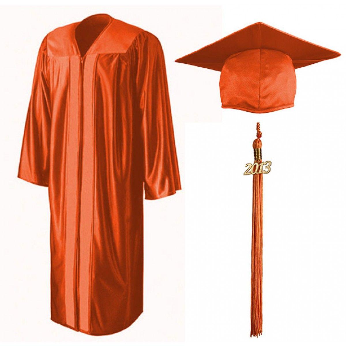 Shiny Orange Cap, Gown & Tassel   grad source   Pinterest   Cap