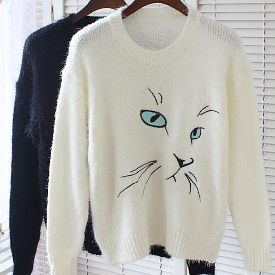 Goldland MY-043 2015 New Autumn Sweaters Fashion Cat Printed Long-Sleeve Knitted Pullovers Women's Knitwear Free Shipping