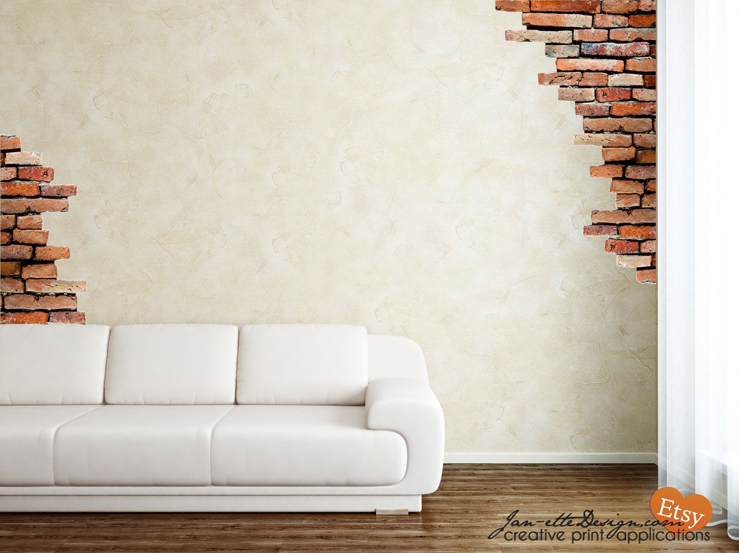 Superieur Wall+Decals+Brick+Wall+Fabric+Wall+Decal+Set+