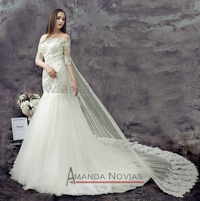 chegada nova únicas 2014 sereia rendas elegante vestido de casamento vestidos fotos reais de novia