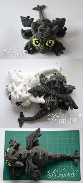 Krawka: Black dragon and white dragon crochet pattern ...