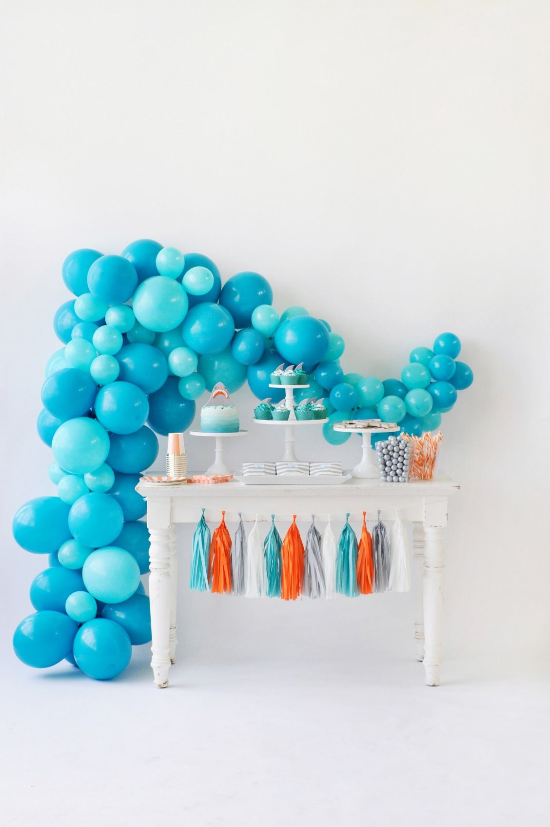 Blue White Orange And Gray Themed Birthday Party Dessert Table