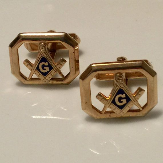 3973dc2a7ff0 Vintage Masonic Cufflinks Signed Anson Featuring Square & Compass -  Freemason - Great Architect of t