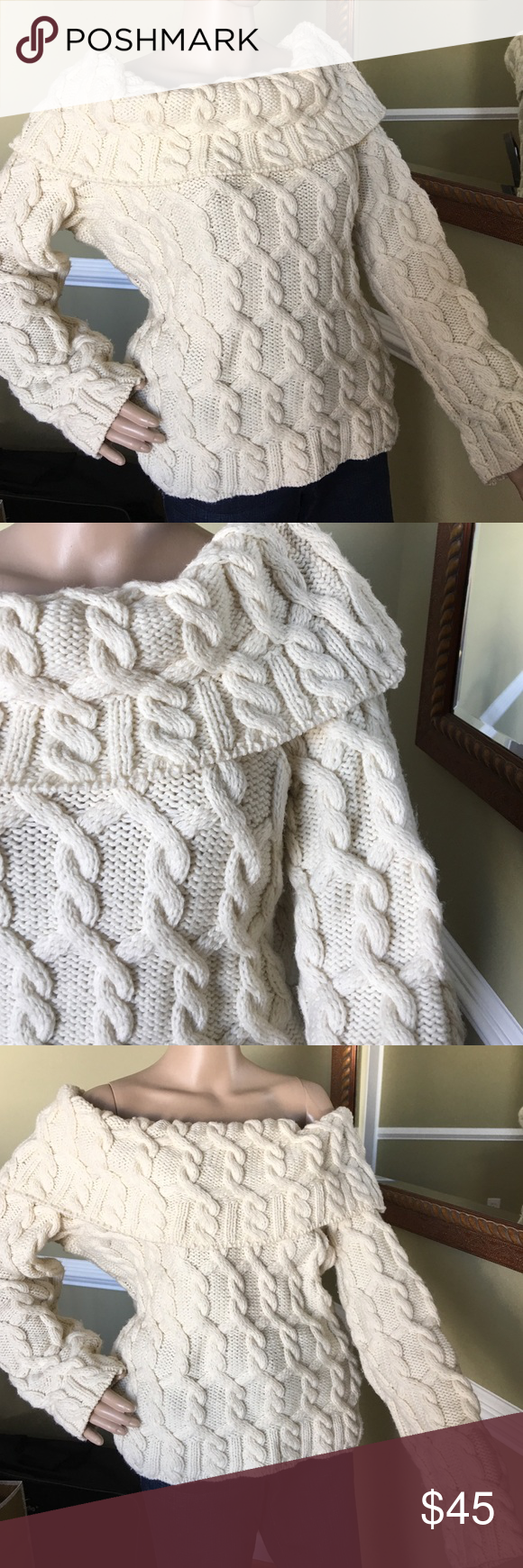 Gorgeous wool sweater Good condition can be worn off shoulders off  white in color just super warm made in England Paul James  Sweaters Cowl & Turtlenecks