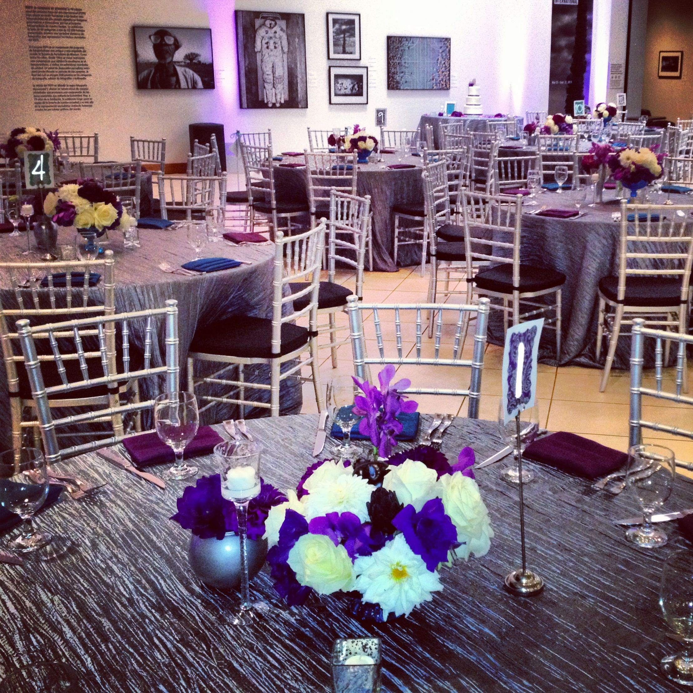 Silver, Purple And Teal Wedding Reception Decor