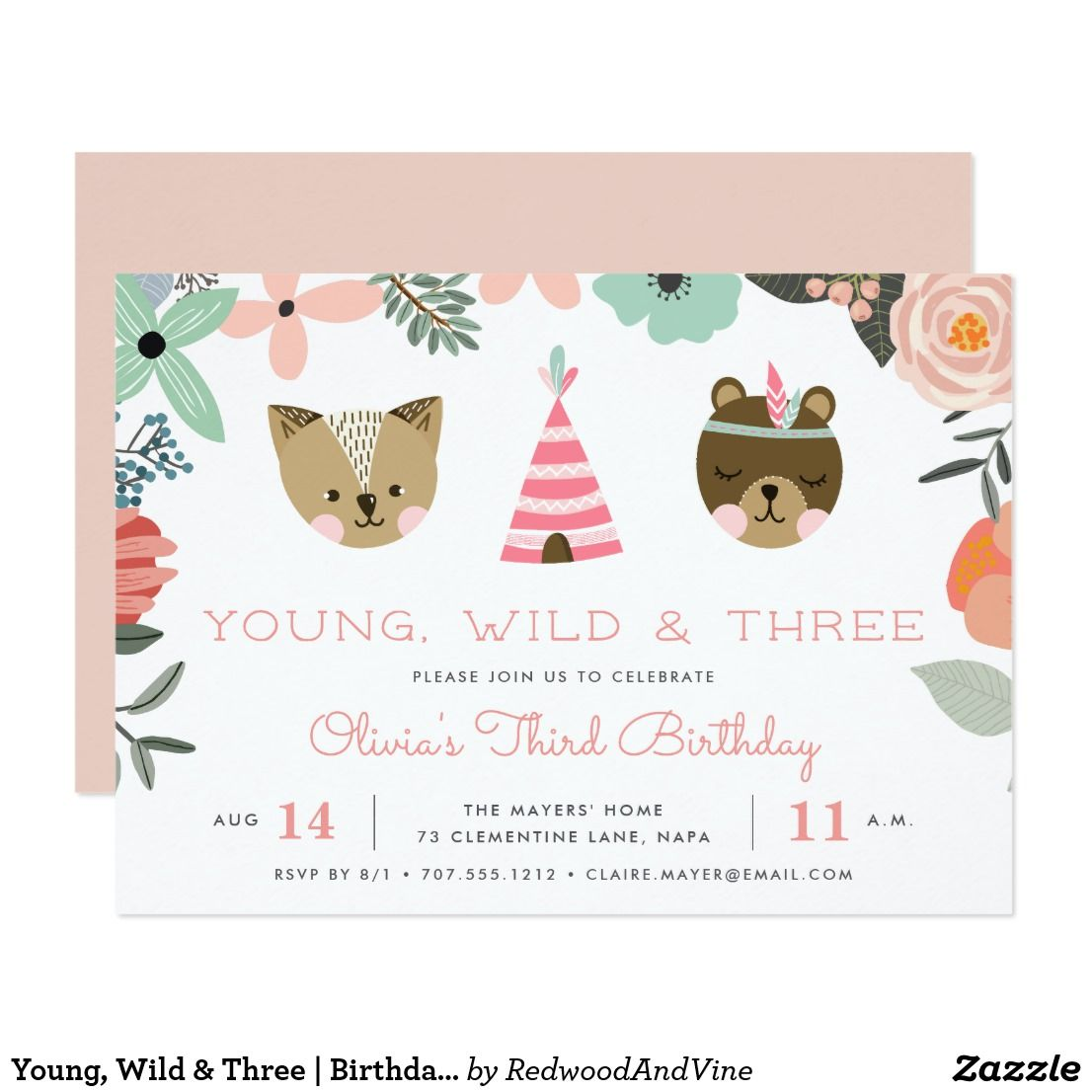 young wild three birthday party invitation third birthday