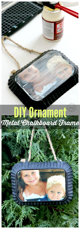 DIY Metal Chalkboard Frame Ornament Homemade ornaments