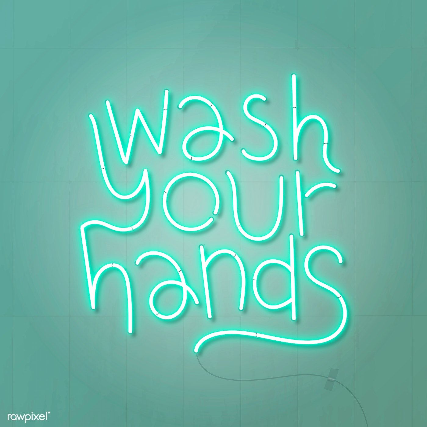 Green wash your hands neon sign vector free image by