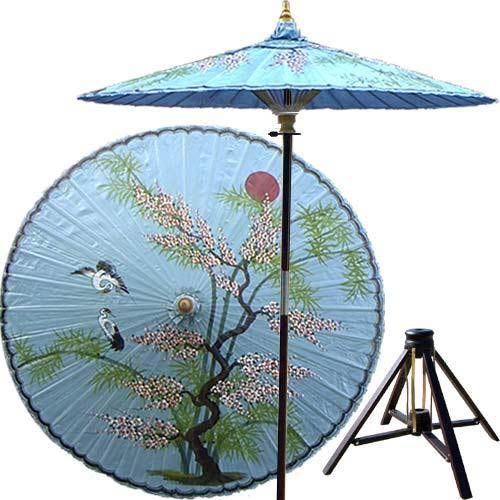 Asian Splendor (Andaman Blue) Beautiful And Artistic, This Outdoor Patio  Umbrella Features A Juniper Tree With Two Cranes Flying Near.