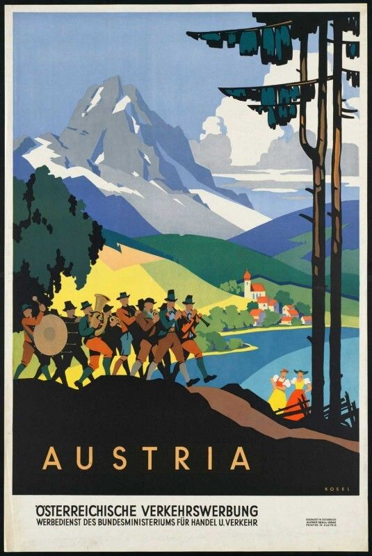 Vintage Skiing In Austria Tourism Poster A3//A2//A1 Print