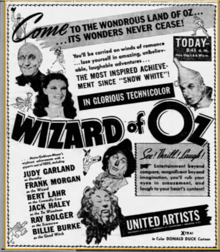 Happy 80th anniversary to The Wizard of Oz! It premiered