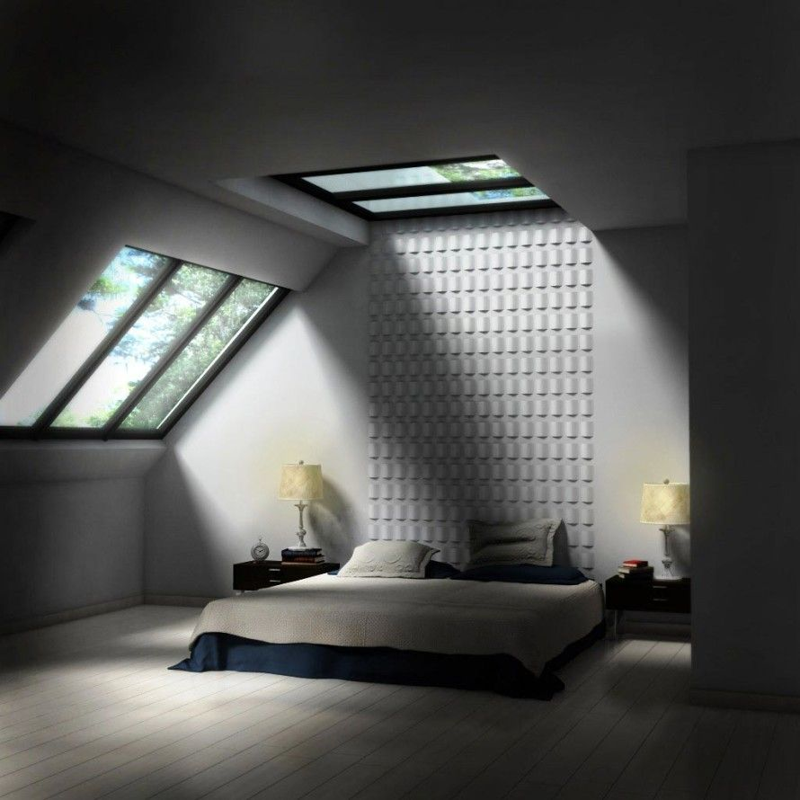 Wonderful Bedroom Skylight Ideas : Wonderful Bedroom Skylight Ideas With  Black And White Bed Pillow Blanket