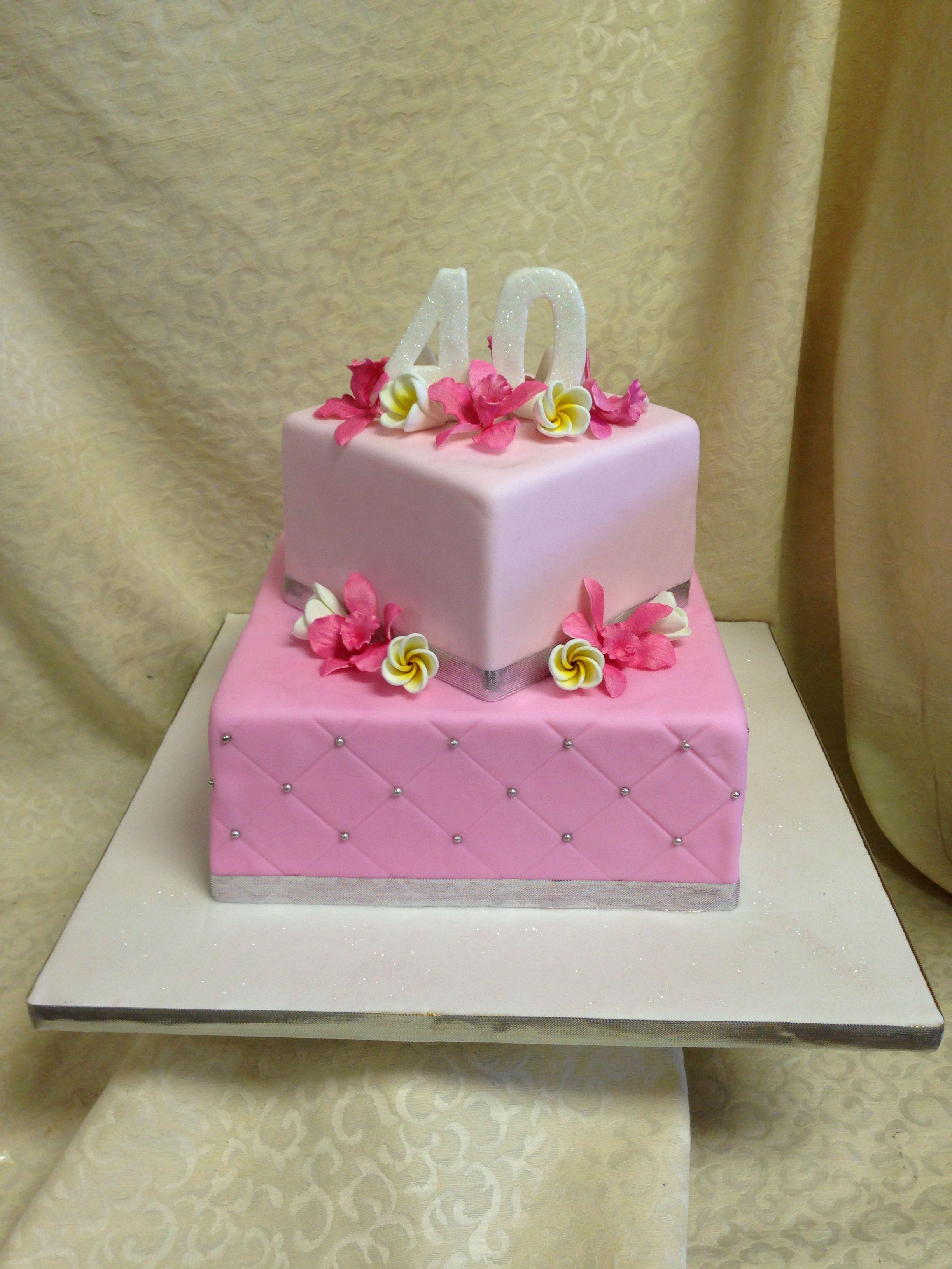 Marvelous Womens 40Year Old Birthday Pink Fondant Cake Sugar Flowers Funny Birthday Cards Online Bapapcheapnameinfo