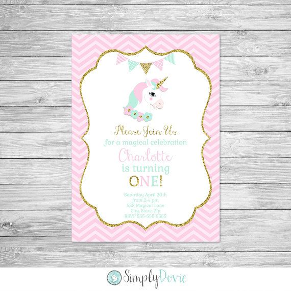 Unicorn Birthday Invitation Printable - Unicorn Birthday Party Invite, Invitation, Magical, Unicorn, Pink, Gold Mint - Magical Birthday