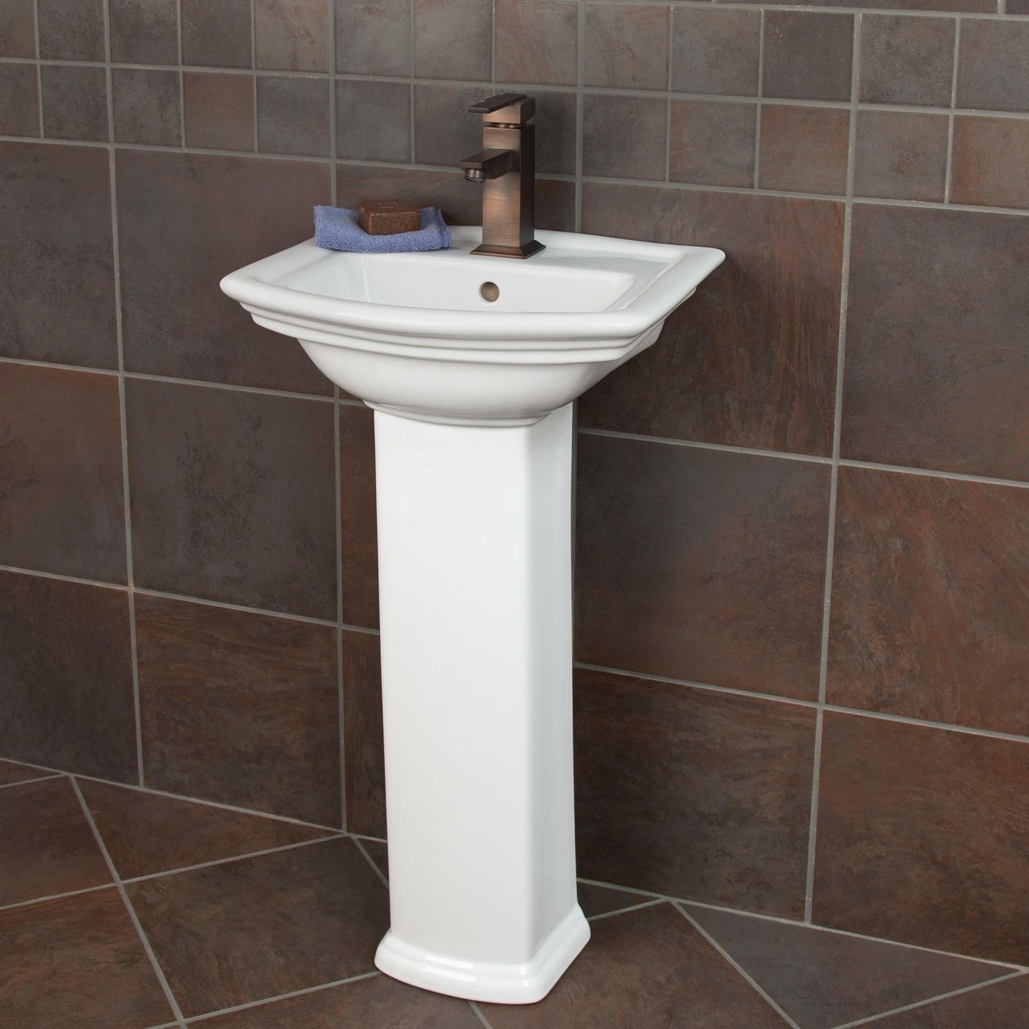 biscuit sink single mini small pedestal with hole faucet porcelain bathroom farnham