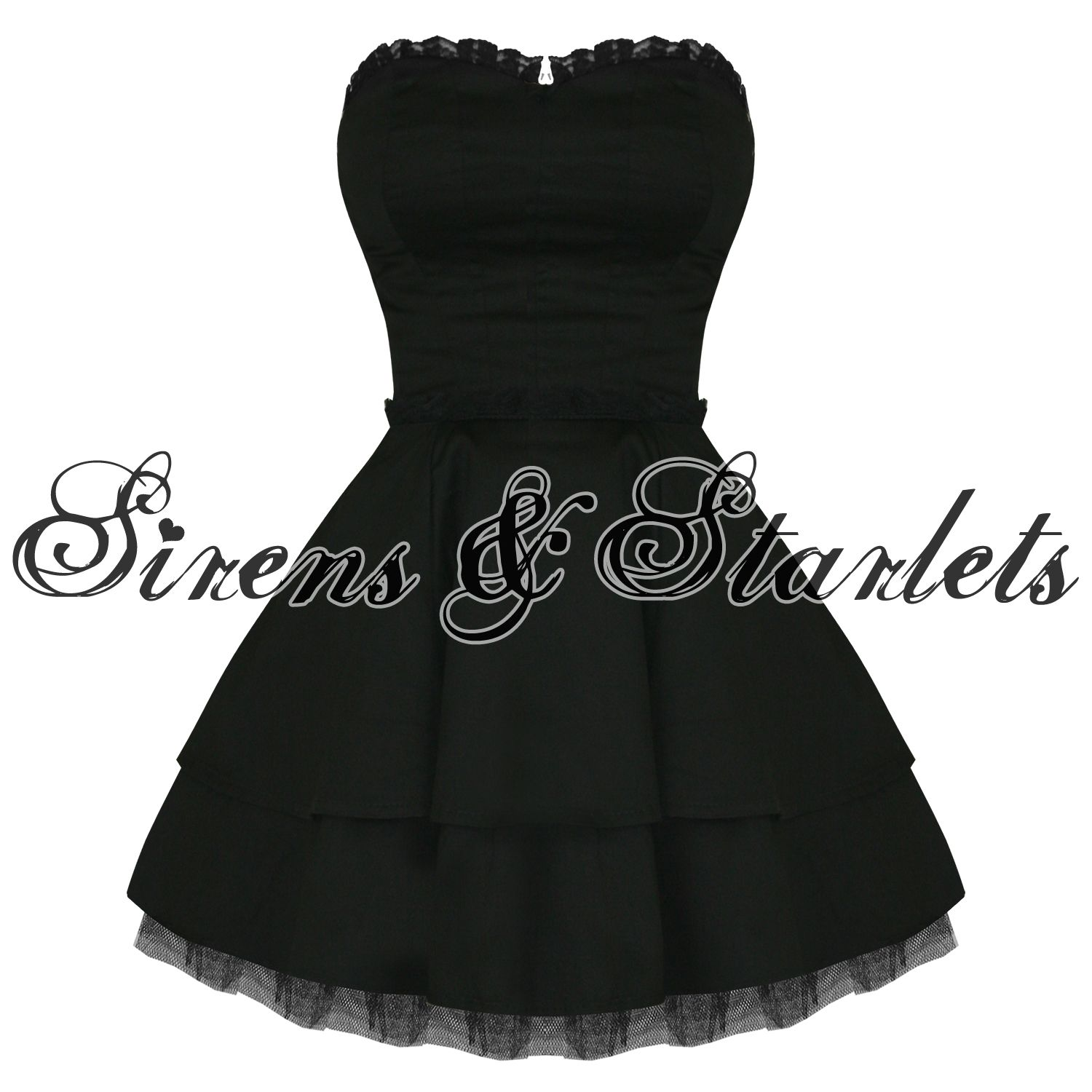 Hearts and Roses London Strapless Black Lace Gothic Emo Mini Party ...