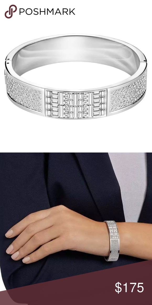 eec4f81ee Size Small *SWAROVSKI ETHIC WIDE BANGLE BRACELET* The Ethic Wide Bangle  combines clear crystal pavé, gorgeous clear crystal baguettes, & shiny  stainless ...