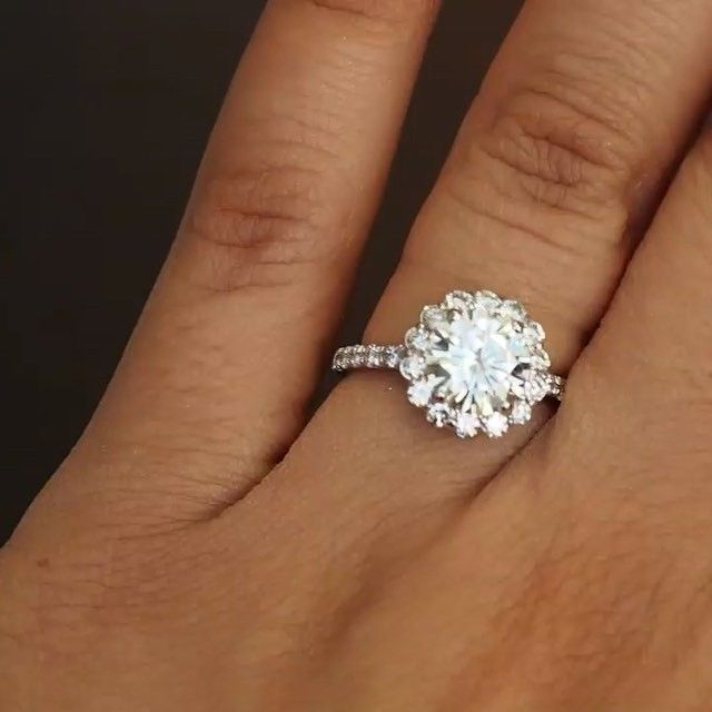 2ct Round Floral Halo Custom Platinum Setting Most Of Our Engagement Ring Setting Are Between 2 Floral Engagement Ring Round Halo Engagement Rings Engagement