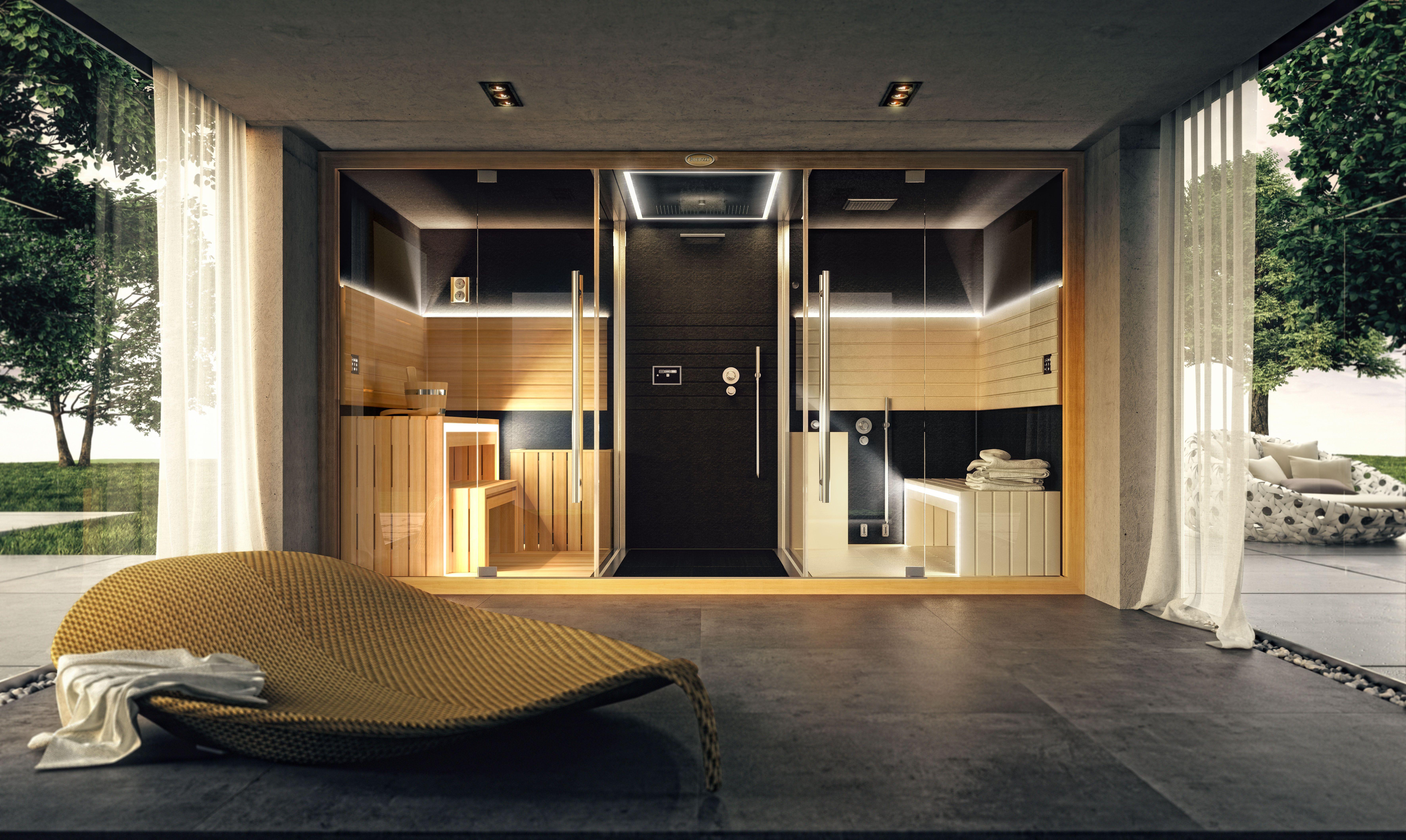 Un autre exemple d installation de Sasha le biné Sauna Douche